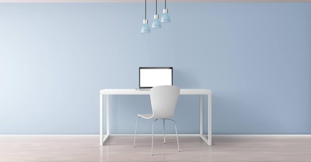 青い壁紙の書斎