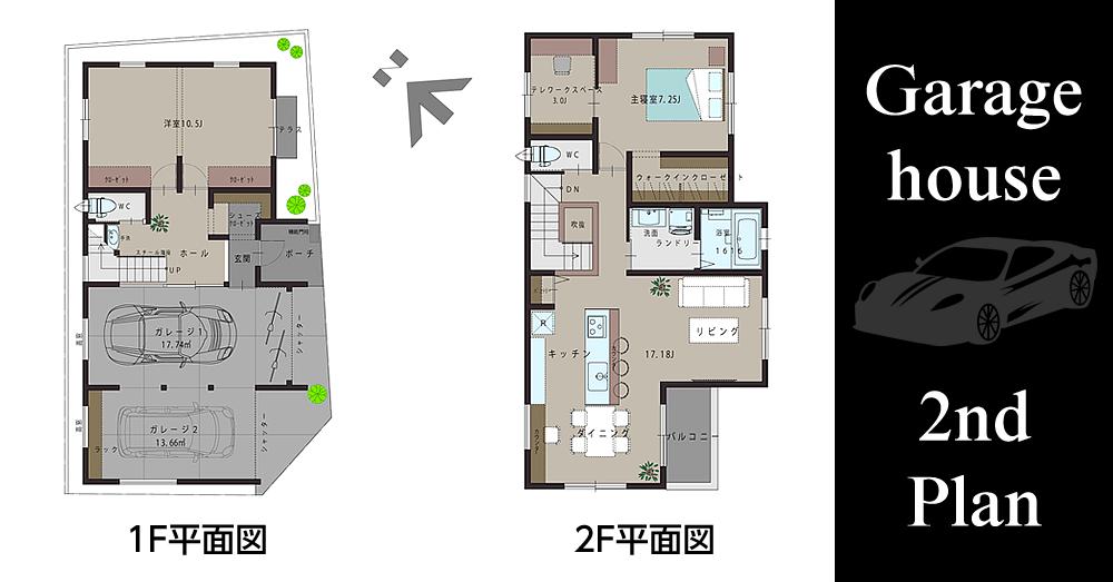 ガレージハウス(2nd Plan) の平面図