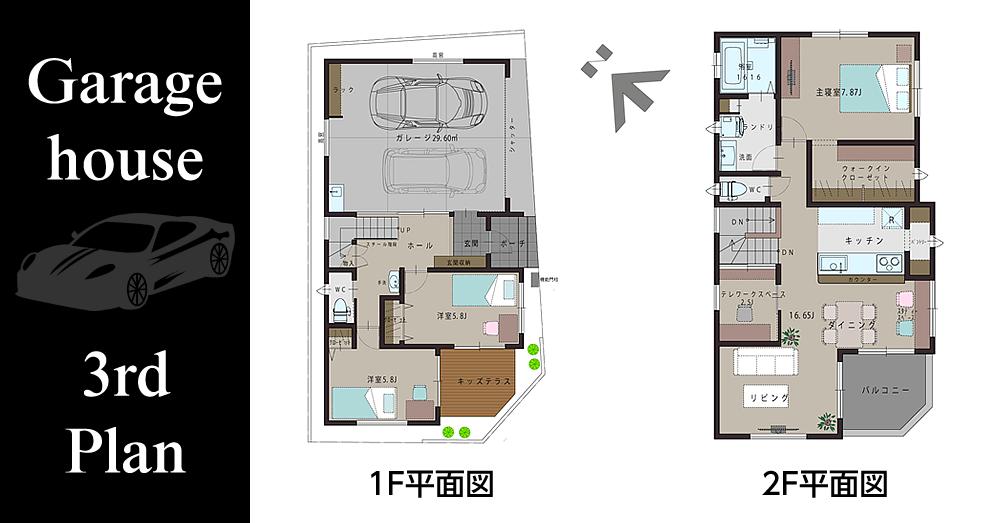 ガレージハウス(3rd Plan) の平面図