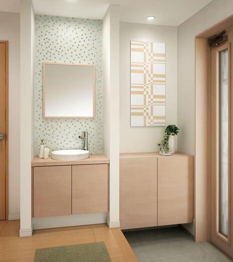 奥行がコンパクトな手洗い場をリフォームで玄関につくる